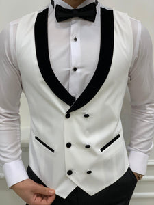 Brooks Slim Fit Groom Collection (White Silk Lapel Tuxedo)