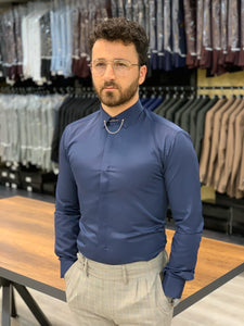 Lance Navy with Needle Collar and Cuffs Shirt