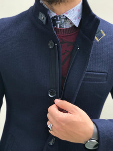 Herno Zippered Cashmere Navy Coat