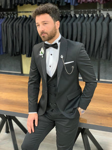 Nate Silvery Thin Shawl Collared Tuxedo