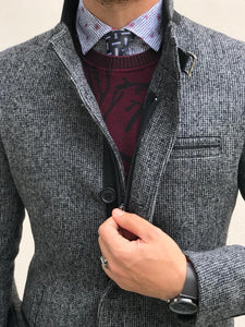 Herno Zippered Cashmere Gray Coat