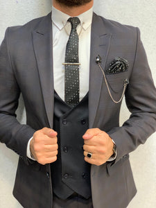 Noak Dark Coffee Navy Vested Suit