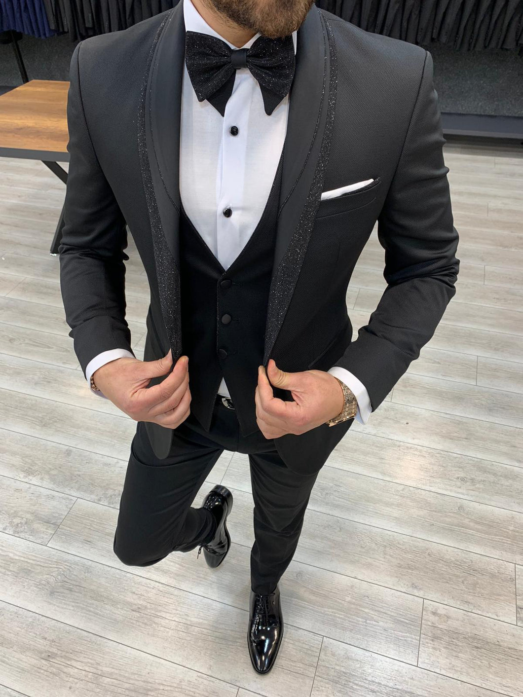 Nate  Silvery Shawl Collared Tuxedo