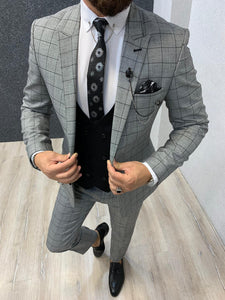 Noak Windowpan Plaid Grey Black Suit
