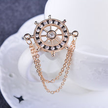 Load image into Gallery viewer, Rhinestone Rudder Chain Brooch