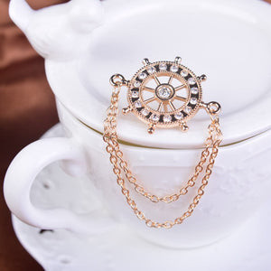 Rhinestone Rudder Chain Brooch