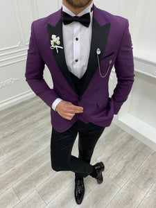 Brooks Slim Fit Groom Collection (Purple/Black Tuxedo)