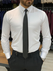 Lance White with Needle Collar and Cuffs Shirt
