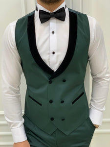 Vince Slim Fit Green Double Lapel Tuxedo