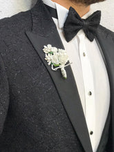 Load image into Gallery viewer, Noah Silvery Black Vested Tuxedo (Wedding Edition)