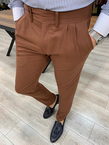 Lance Tile Double Pleated Buckled Pants