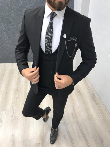 Piomo Black Slim Fit Suit