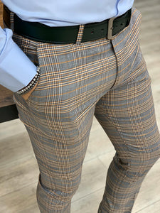 Lance Navy Plaid Canvas Pants