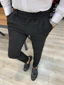 Lance Black Double Pleated Buckle Pants
