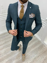 Load image into Gallery viewer, Verno Slim Fit Plaid Green Suit