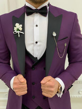 이미지를 갤러리 뷰어에 로드 , Brooks Slim Fit Groom Collection (Purple/Black Tuxedo)