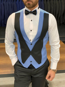 Harrison Baby Blue Pointed Collared Tuxedo