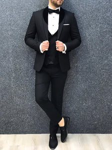 Genova Slim Fit Black with Velvet Tuxedo