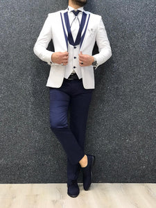 Noah White Tuxedo with Navy Lapel   (Wedding Edition)