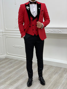 Brooks Slim Fit Groom Collection (Red Velvet Lapel Tuxedo)