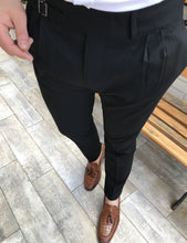 Load image into Gallery viewer, Lance Black Double Pleated Buckle Pants