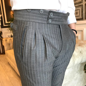 Lance Grey Stripe Double Pleated Slim Fit  Pants