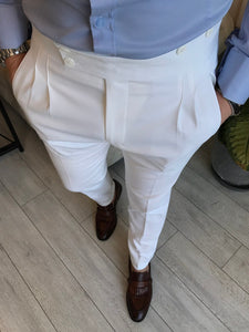 Lance White Double Pleated Buckle Pants