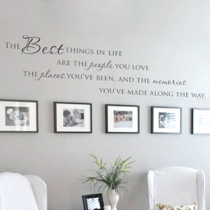 the best things in life vinyl wall decals ~ love memories wall quote
