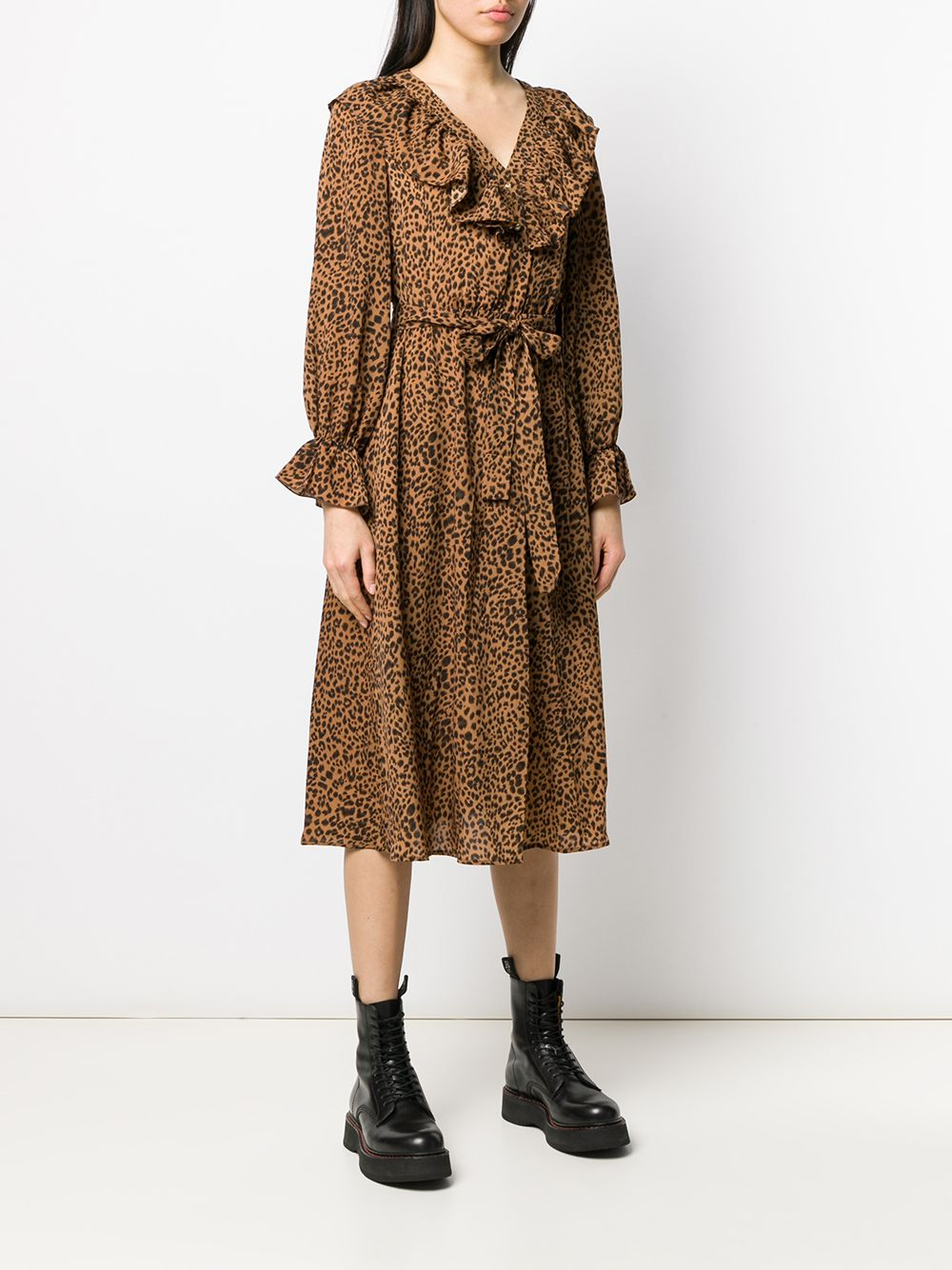 Tan Leopard Print Midi Dress