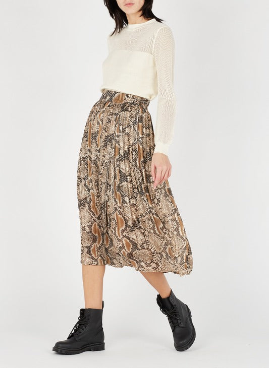 Pleated Snake Wrap Skirt