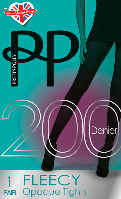 200 Denier Black Fleecey Opaque Tights