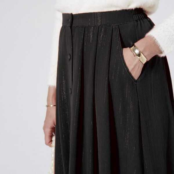Black Sparkle Midi Skirt