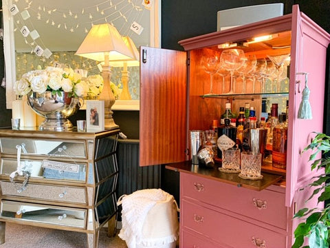 upcycled pink cabinet