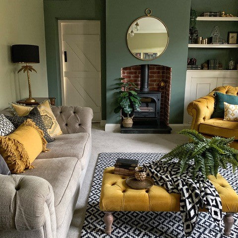 Beautiful cottage living room interior with colour inspiration