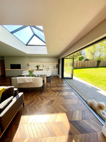 contemporary kitchen lounge diner with bifold doors