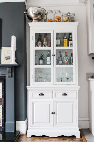 up-cycled gin cabinet painted white