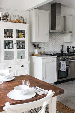 kitchen diner with gin cabinet