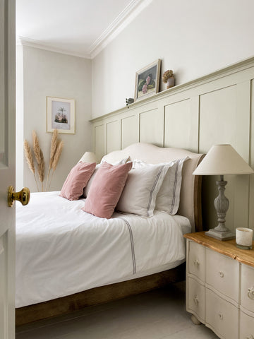 country style bedroom with wood panelling on the walls