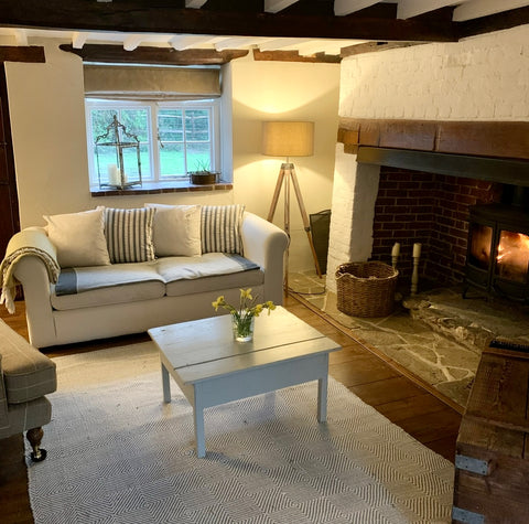 beautiful image of cosy country style snug with fireplace and log burner