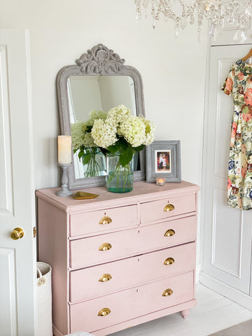 up-cycled chest of drawers painted pink