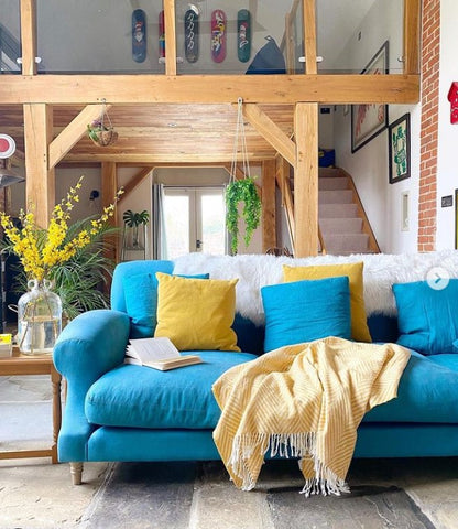 barn conversion colourful interior design