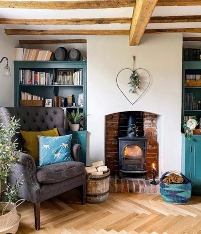 beautiful cosy lounge with log burner