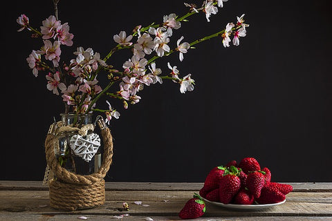 country flowers and strawberries make you feel happy