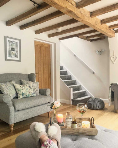 country style cottage living room with exposed wooden beams