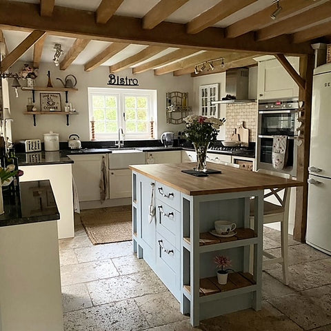 country cottage kitchen with oak beams