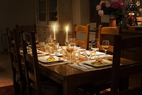 Wooden Dinner Table Candlelit