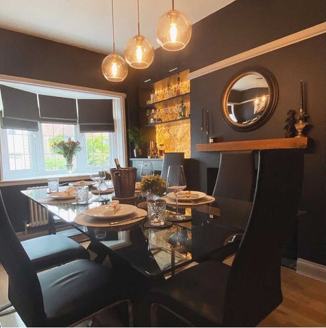 beautiful dark dining room