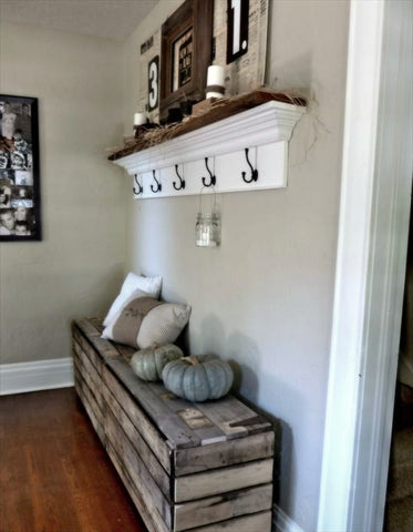 hallway bench and shelving