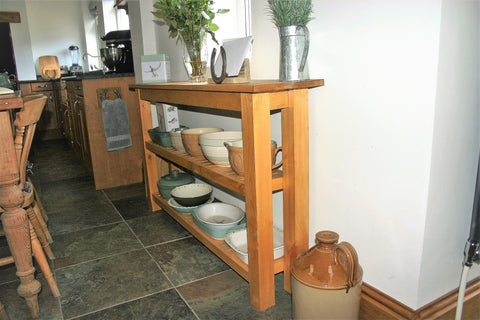 large kitchen console table with storage shelves
