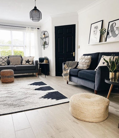 skandi grey living room with Next sofa and rug